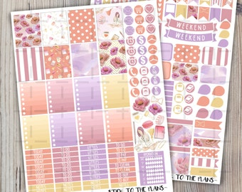 Planner Girl printable planner stickers for use with Erin Condren LifePlannerTM lilac pink flowers paperclips macarons tassel mug weekly set