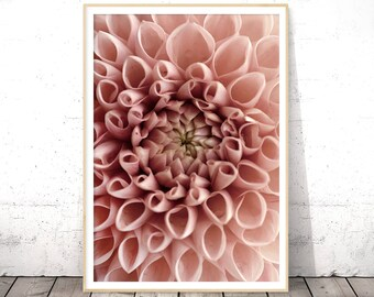 Pink Blush Print, Romantic Gifts for Her, Dahlia Print, Boho Home Decor, Modern Photography, Digital Download, Floral Poster Art, Blush Pink