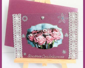 bouquet of roses Burgundy sympathy card