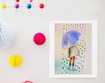 Raining Hearts - limited edition art print