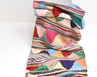 Vintage Moroccan Rug Kilim Hanbal Boucherouite Rug