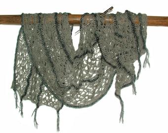 Crochet Shawl, Crochet Lace Scarf Wrap Shawl Stole Long Wide OOAK Women's Freestyle crochet in soft grey tones