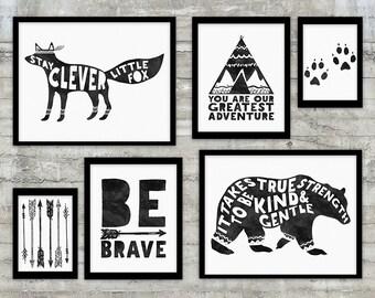 Monochrome Baby Tribal Nursery Art Printable Set, Tribal Pattern, Be Brave Quote, Bear, Fox, Arrows, Teepee, Monochrome Nursery Art