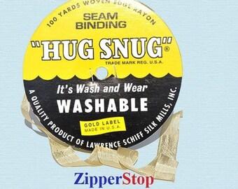 """LEATHER TAN - Hug Snug Seam Binding - 100 yard roll 1/2"""" Wide - 100% Woven-Edge Rayon - Schiff"""