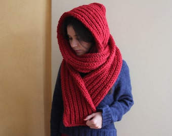 Hooded Scarf. Long Scarf. Wool Scarf. Chunky Scarf. Scoodie Scarf. Wool Redd Scarf. Red hooded scarf. knit scoodie scarf