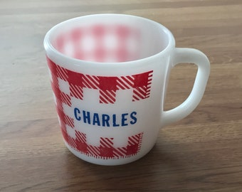 "Vintage Westfield Milk Glass Personalized ""Charles"" Name Mug. White with Red Gingham Checks and Blue Type Mid Century Kitsch.  // Milk Glass"