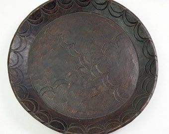 Antique Hand Carved Patterned Wood Platter from Gurage, Ethiopia, Africa WE11