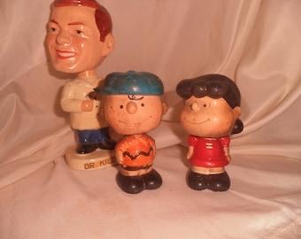 1960's Bobble heads DR. KILDARE  M.D.  pEANUTS Charlie Brown Lucy Round Base Bobble Head set JAPAN*
