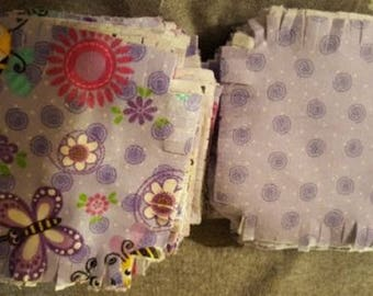 Rag Quilt Kit Of Comfy Prints Flannel (Purple) #0477-55by & (Purple Swirl) By A.E. Nathan Fabrics