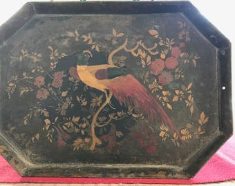 Decorative Painted Tray with Partridge