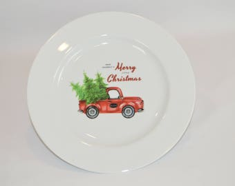 "Bistro 10"" White Plate (shown with image #x80  - Have Yourself a Merry Little Christmas w/ Truck)"