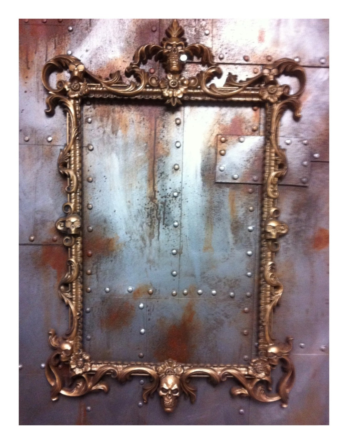 Antique gold Skulls Picture Frame Mirror Shabby Chic Baroque Gothic ...