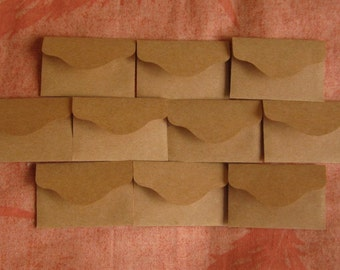 "10 Mini Brown Envelopes - Kraft Envelopes - Mini Seed Envelopes - Tiny Envelopes - 2 3/8"" x 1 1/2"""