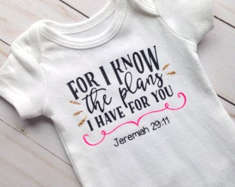 Preemie, Jeremiah 29:11, Religious Baby Clothes, Newborn Clothes, Baby Bodysuit, Baby Shower Gift, Preemie Girl Clothes