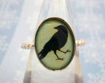 Sterling Silver Crow Silhouette Ring