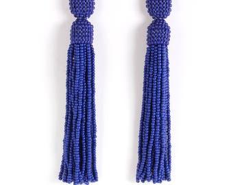 Blue beaded tassel earrings,Beaded earrings in Oscar de La Renta style, long tassel beaded earrings, oscar de la renta tassel earrings