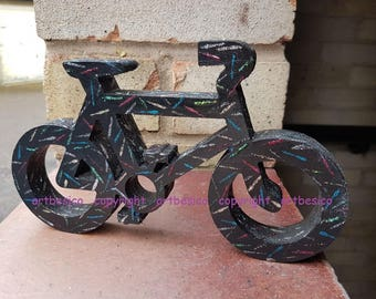 Wooden Bicycle, 20.3 cm x 12 cm, Black with glitter pattern in multi colours