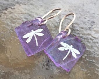 Small Completely Translucent Lavender Fused Glass & Silver Dragonfly with Sterling Silver Hooks