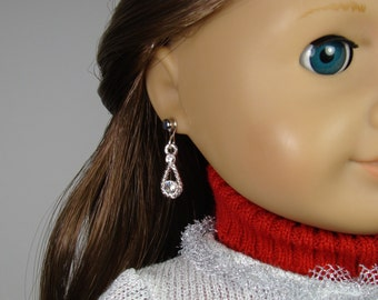 """Silver and Crystal Earring Dangles for 18"""" Play Dolls such as American Girl®"""