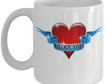 I Love You - Cute Funny Victorian Style Coffee Mug For Valentine's Day Lovers, Great Gift For A Girlfriend, Boyfriend, Husband Or Wife