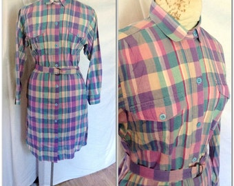 1980s Plaid Shirt Dress Vintage Pink and Purple // large 10 12 14 hipster boho eighties belted