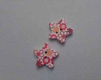 Set of 2 star new same flower pattern buttons