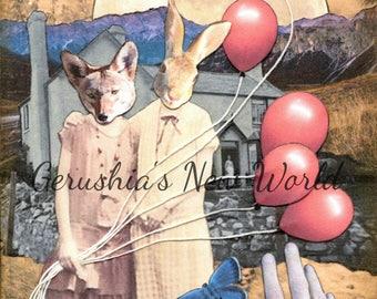 NEW - Lollianna and Georgina Ray's Spectacular Celebration - ORIGINAL, Collage, Mixed Media, Surreal, anthropomorphic, animal art