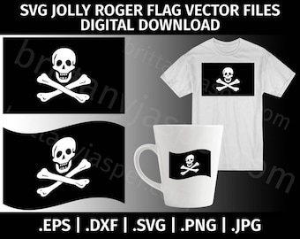 Jolly Roger Pirate Flag SVG Vector Clip Art - Cutting Files for Cricut, Silhouette - eps dxf svg png jpg - Digital, Waving Flag, Template