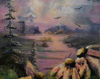 Canvas art, Collage, Acrylic painting, Hawaii painting, original fine art, collage art, textured painting, sunset, Tybi Studio, Debi Coleman