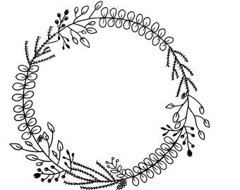 Black and White Hand-drawn Floral Wreath Printable Instant Digital Download