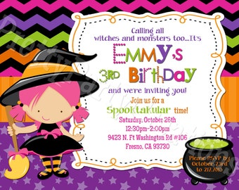 LITTLE WITCH invitation - YOU Print - 5 to choose