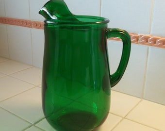 "Vintage Anchor Hocking Forest Green 8"" Pitcher"