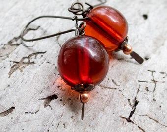 Art Deco Honey Amber Drop Earrings    Nature Lover   Vintage Honey Amber Beads   Earthy   Organic   Woodland Wedding   Earrings Under 20