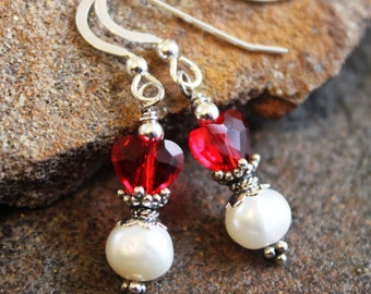 Red Heart Earrings, Valentine's Day, Sterling Silver, White Freshwater Pearl, Anniversary Gift, Women's Gift, Heart Jewelry, Queen of Heart