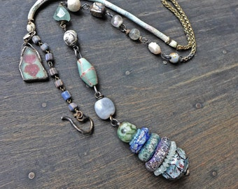 """Rustic totem lariat necklaces, cairn stone stacks in shades of light blue, long bohemian art jewelry by fancifuldevices- """"Cryptesthesia"""""""