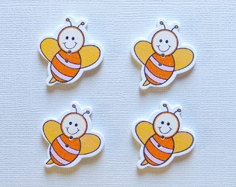 4 Wooden Bee Buttons - #SB-00310