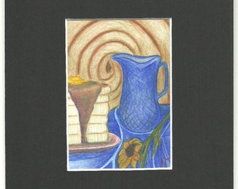 Flop Jack ORIGINAL ART colored pencil drawing ACEO matted 5x7
