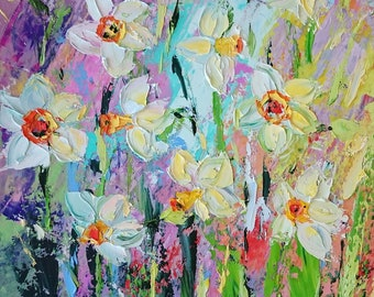 Narcissus; Original palette knife oil painting; flowers painting; narcissus painting; floral oil painting