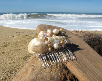 Beach Wedding No.10 - Shimmering Gold Seashell, Pearl and Vintage Rhinestone Bridal Assemblage Hair Comb, Coastal Wedding