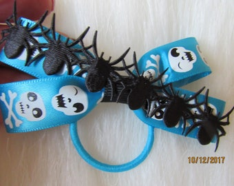 Blue and black spider Halloween girl hair bow