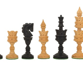 """The Lotus Series Handcarved Wooden Chess Pieces in Ebony & Box Wood - 4.3"""" King. SKU: M0004"""