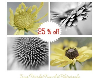 Grey yellow wall art flower photography set, 4 11x14, 8x10 modern botanical prints, yellow grey decor, nursery floral pictures bathroom art
