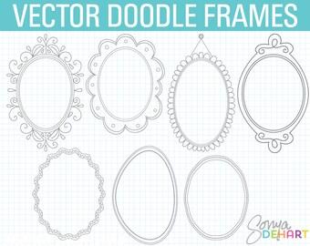 80% OFF SALE Oval Frame Clipart, Doodle Frame Clipart, Digital Frames, Doodle Clipart, Hand Drawn Clipart, Frames Clipart, Doodle Frame