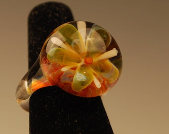 Flower Ring, Glass ring, Glass Jewelry
