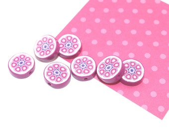 Polymer clay beads, round flat beads in pink, purple and white, flower shaped, set of 7 beads