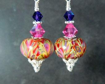 Pink Red Purple Glass Crystal & Sterling Silver Dangle Earrings, Boho Chic Jewelry, Gypsy Earrings Boro Lampwork Earrings Art Glass Earrings