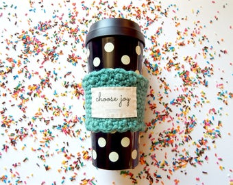 Blessed or Choose Joy coffee cup sleeve, turquoise, inspirational gifts for her, mothers day gifts under 30, gift for Christian women