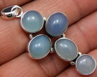 100% Solid 925 Sterling Silver Chalcedony Gemstone Handmade Jewelry Pendant