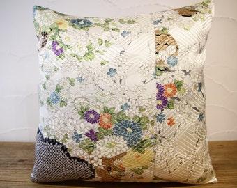 Japanese Silk Kimono Pillow 16x16