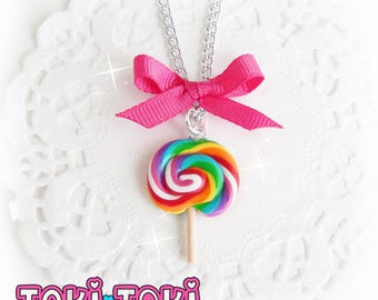 Rainbow Lollipop Pendant, Lollipop Necklace, Candy Necklace, Kawaii Jewelry, Cute Necklace, Food Necklace, Miniature Jewelry, Clay Lollipop